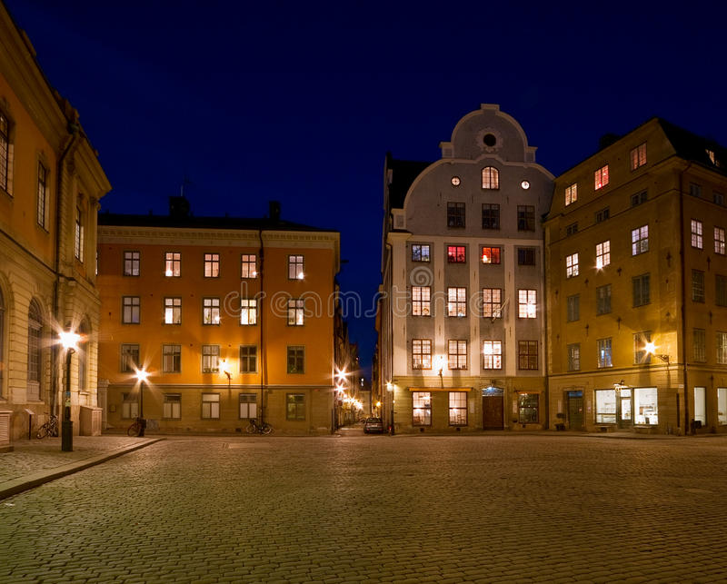 Download Beautiful Old Town Square At Night. Stock Image - Image of night, architecture: 23875939