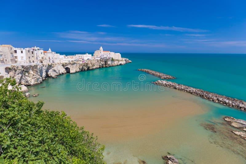 Beautiful old town of Vieste, Gargano peninsula, Apulia region, South of Italy. Beautiful old town of Vieste, amazing sea colors, Gargano peninsula, Apulia stock photo
