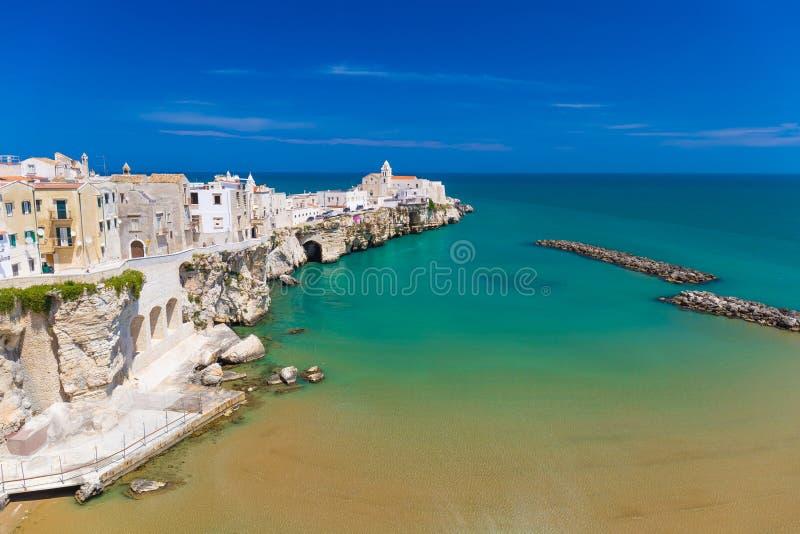 Beautiful old town of Vieste, Gargano peninsula, Apulia region, South of Italy. Beautiful old town of Vieste, amazing sea colors, Gargano peninsula, Apulia royalty free stock image