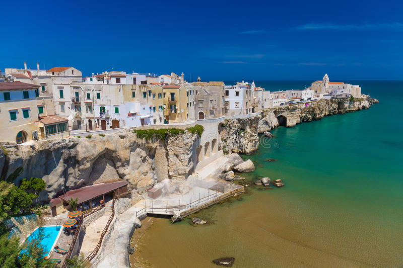 Beautiful old town of Vieste, Gargano peninsula, Apulia region, South of Italy. Beautiful old town of Vieste, amazing sea colors, Gargano peninsula, Apulia stock images