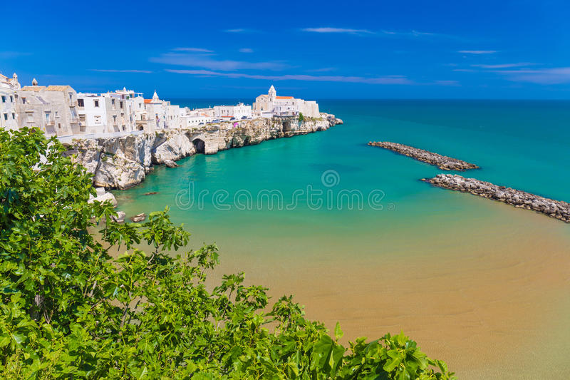 Beautiful old town of Vieste, Gargano peninsula, Apulia region, South of Italy. Beautiful old town of Vieste, amazing sea colors, Gargano peninsula, Apulia royalty free stock images