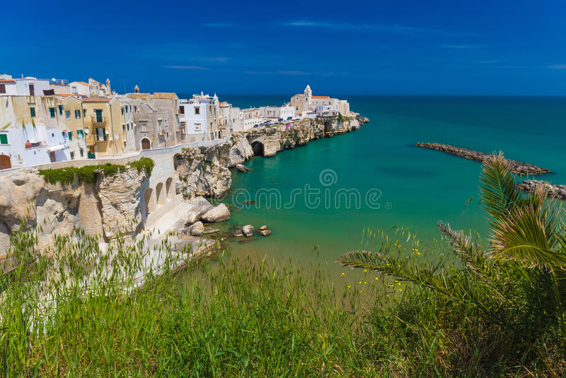 Beautiful old town of Vieste, Gargano peninsula, Apulia region, South of Italy. Beautiful old town of Vieste, amazing sea colors, Gargano peninsula, Apulia royalty free stock photos