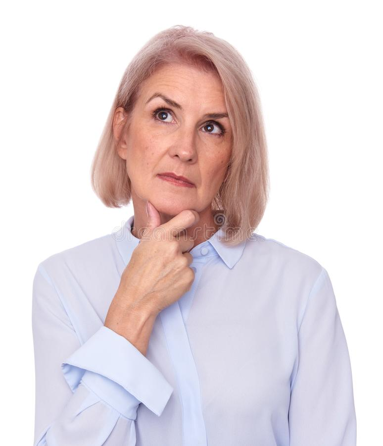 Old woman thinking and looking up royalty free stock images