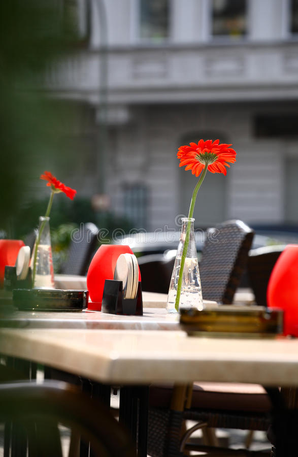 Download Beautiful Open Air Summer Restaurant Tables With Red Flowers In Vases Stock Image - Image of luxury, served: 30475421
