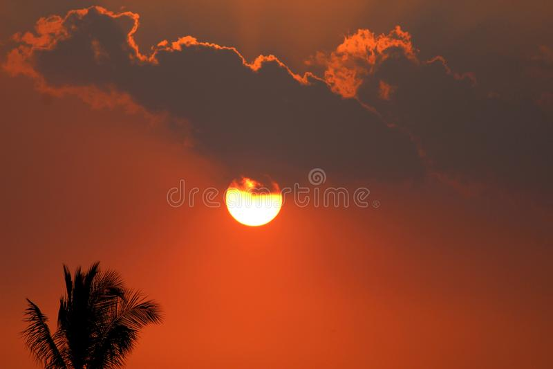 Beautiful orange red sunset sky with clouds for background stock images