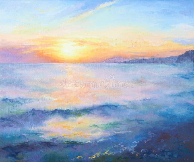 Beautiful orange sunset on the Black sea. Oil painting