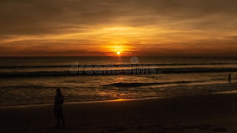 Sunset at Karon Beach, Phuket Thailand stock image