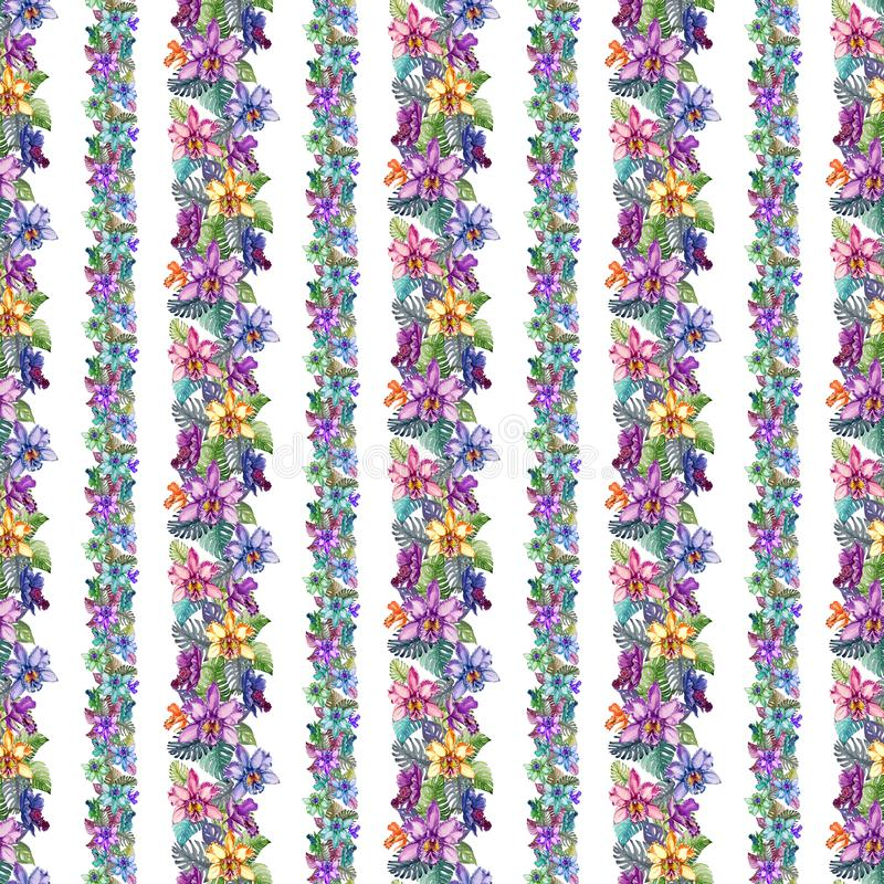 Free Beautiful Orchid Flowers And Monstera Leaves In Narrow Straight Lines On White Background. Seamless Tropical Floral Pattern. Royalty Free Stock Photography - 112042887