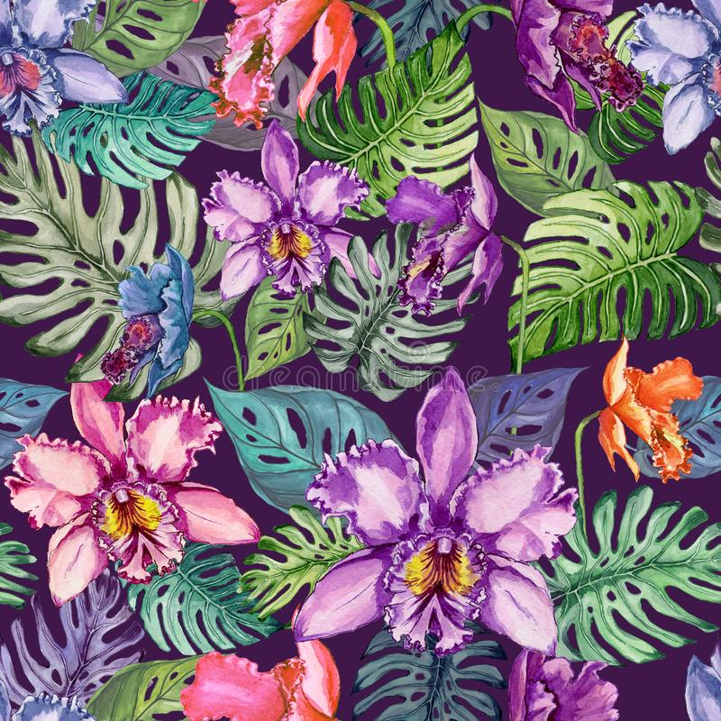Beautiful orchid flowers and monstera leaves on dark purple background. Seamless tropical floral pattern. Watercolor painting. royalty free illustration