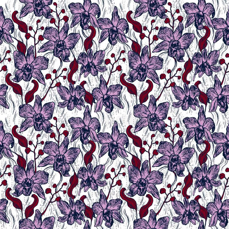 Beautiful Orchid. Hand drawn contour sketch Burgundy pink purple Navy background, seamless pattern, card banner design. Vector stock illustration