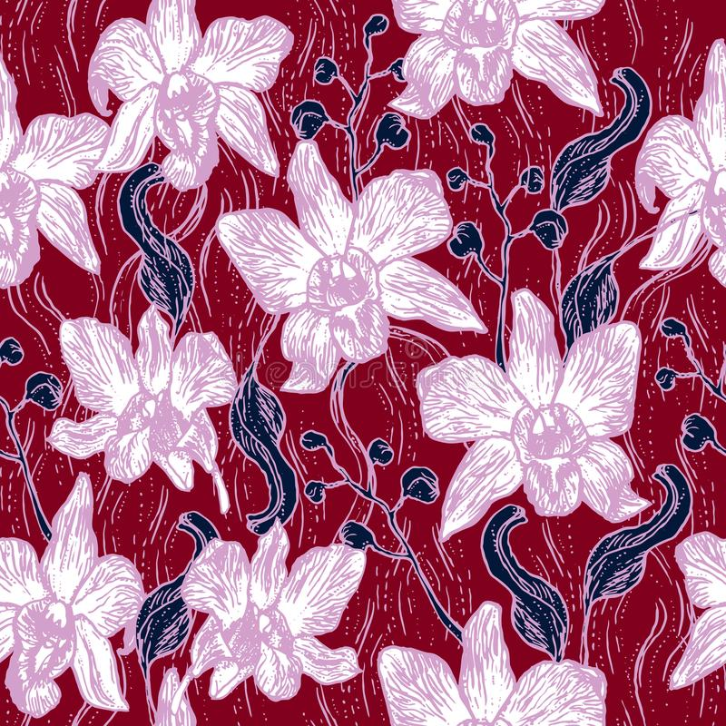 Beautiful Orchid. Hand drawn contour sketch Burgundy pink purple Navy, seamless pattern, card banner design, background for site, stock illustration