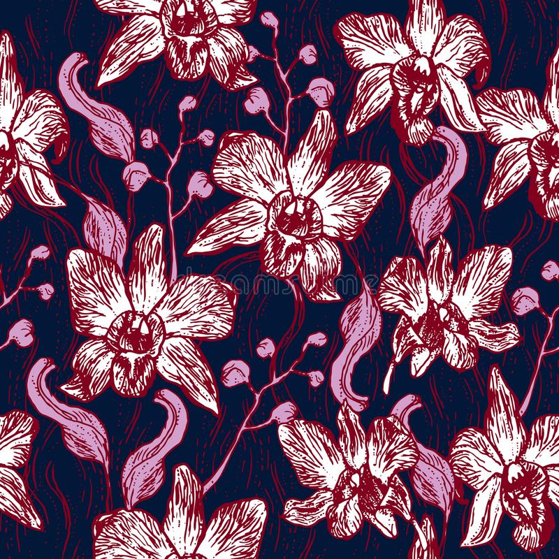 Beautiful Orchid. Hand drawn on Navy background, Burgundy pink purple contour sketch seamless pattern, card banner design. Vector stock illustration