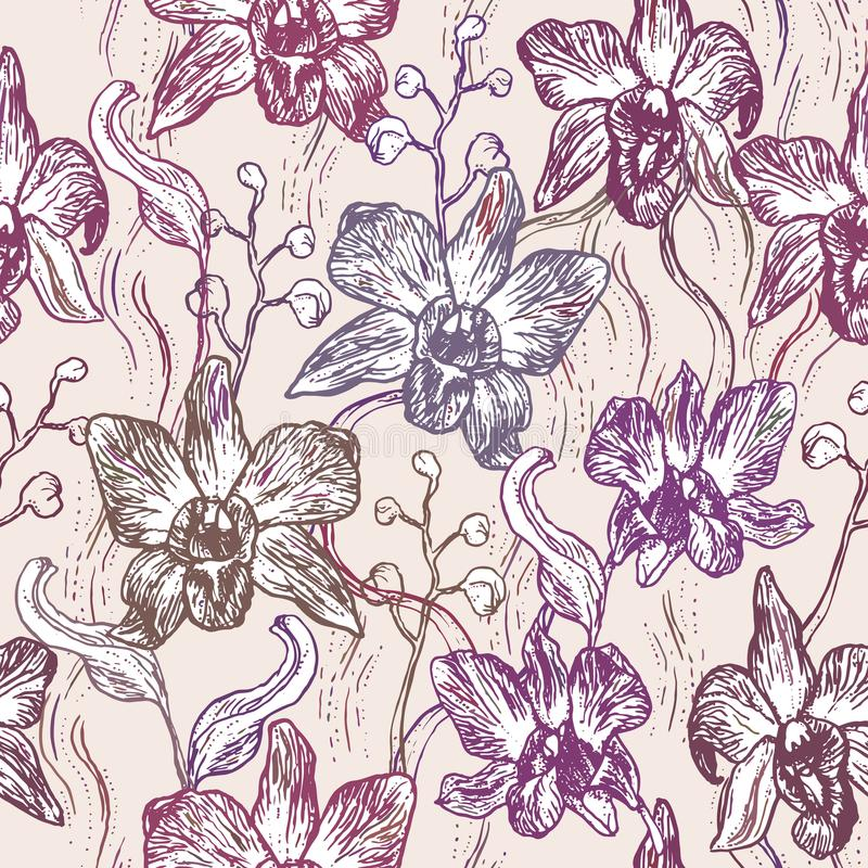 Beautiful Orchid. Hand drawn set on pink background brown purple contour sketch seamless pattern, card banner design. Vector stock illustration