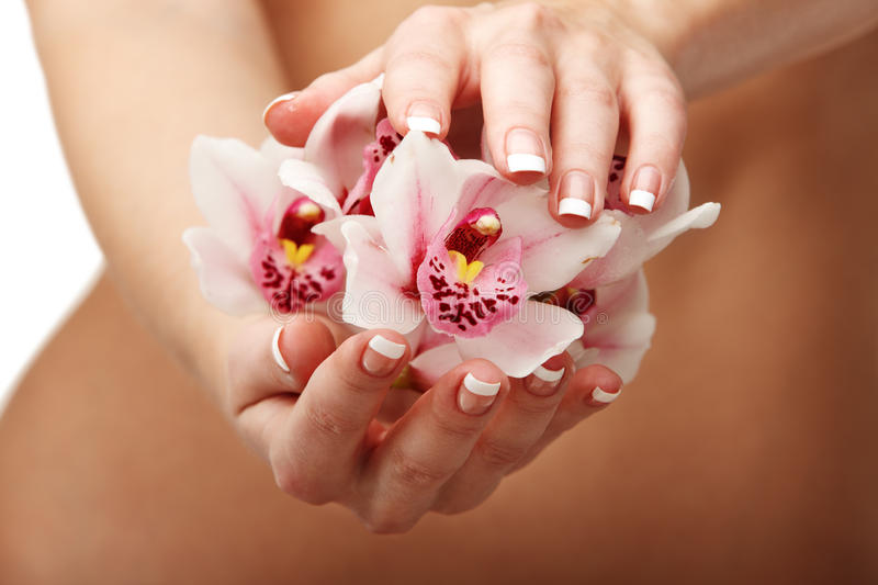 Download Beautiful Orchid Over Woman Body Stock Photos - Image: 13347583