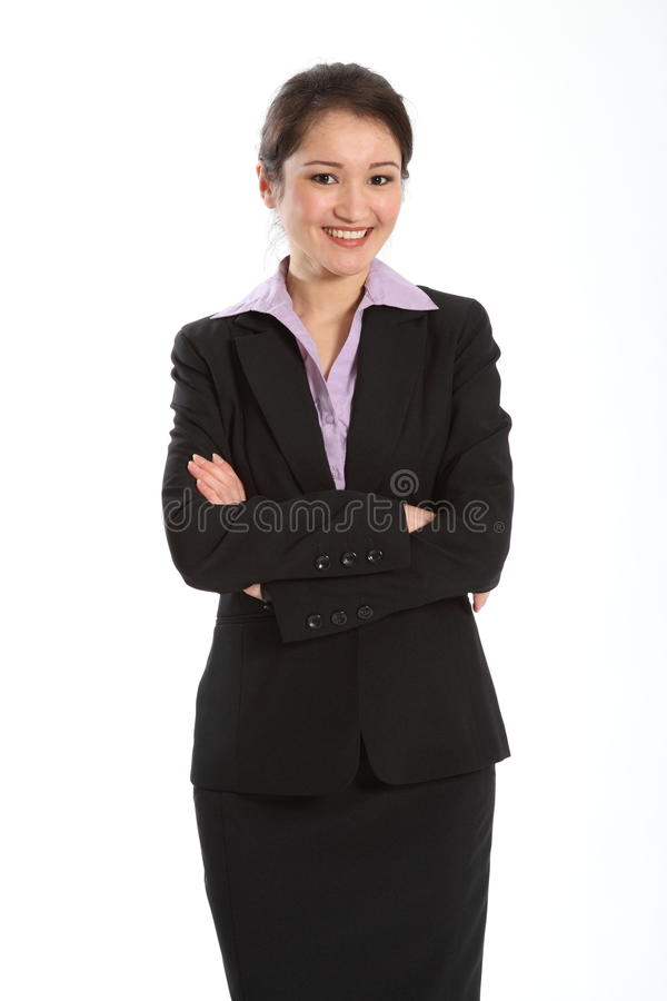 Beautiful oriental business woman arms folded royalty free stock photos