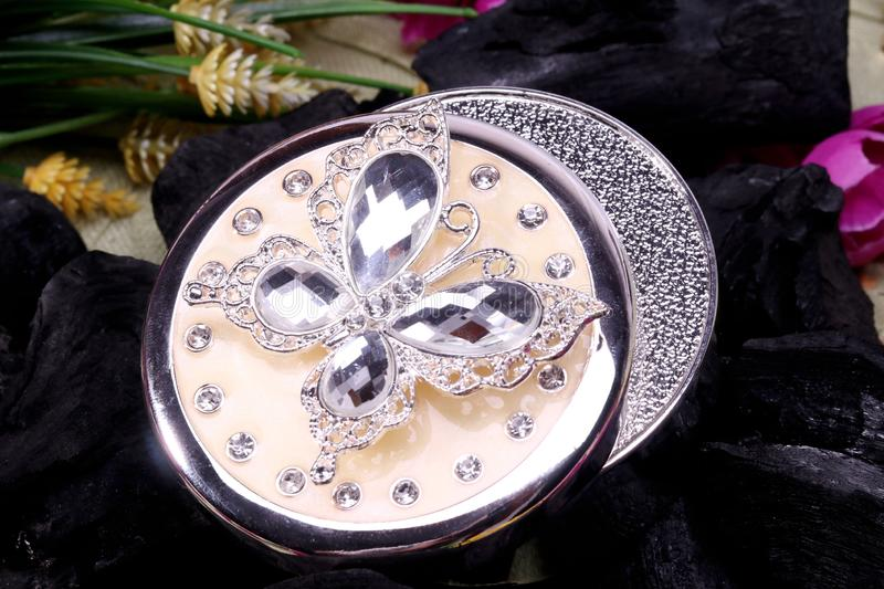 Beautiful Oriental jewelry box Indian, Arab, African, Egyptian. Fashion Exotic Accessories. Opened and empty ancient jewelry box.Beautiful Oriental artificial stock image