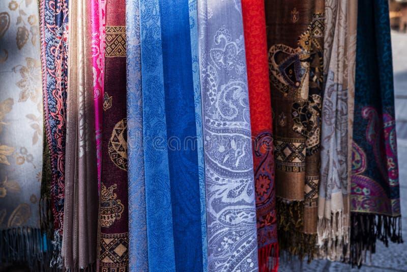 Beautiful oriental shawls at the market in Sarajevo. Bosnia stock photography