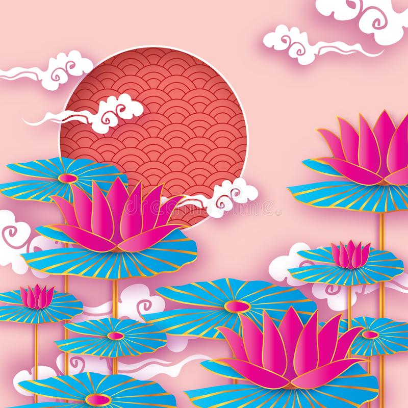 Beautiful Origami Waterlily or lotus flower. Happy Chinese New Year Year of the Dog. Text. Cicle frame. Graceful floral. Background in paper cut style. Nature royalty free illustration