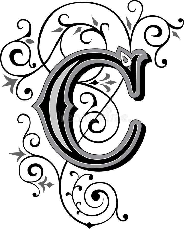 beautiful ornate alphabets letter s grayscale beautiful ornament letter c stock vector image 38519036 939