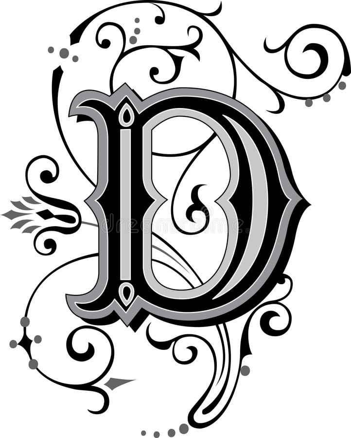 beautiful ornate alphabets letter s grayscale beautiful ornament letter d stock vector illustration 939