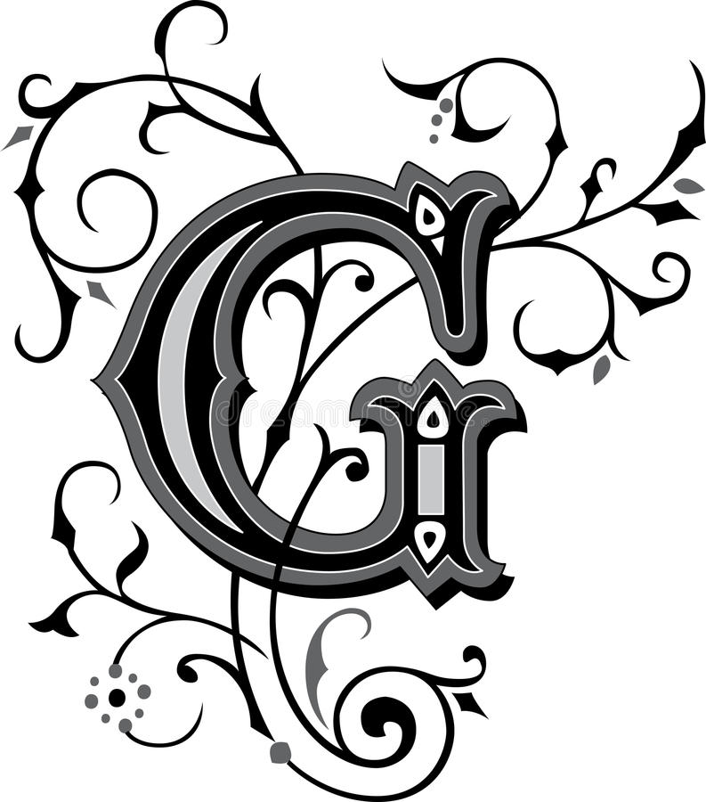 Download Beautiful Ornament Letter G Stock Vector