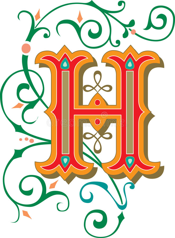 Download Beautiful Ornament Letter H Stock Vector