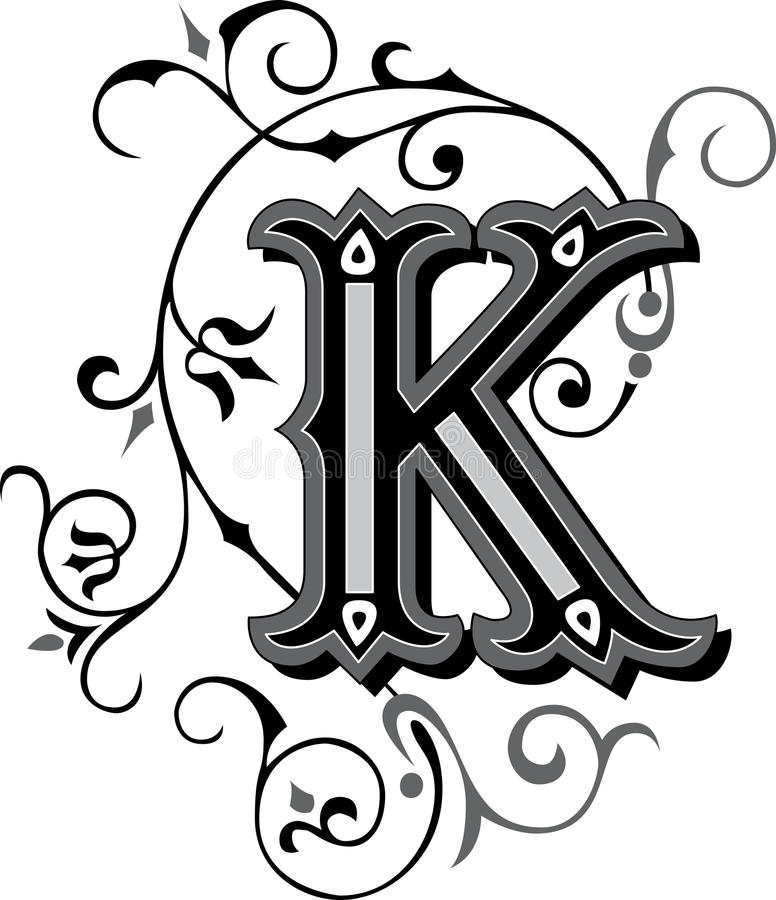 beautiful ornate alphabets letter s grayscale beautiful ornament letter k stock vector illustration 939