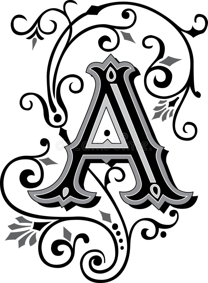 Beautiful ornament, Letter A royalty free illustration