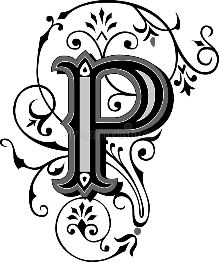 Beautiful Ornament Letter P Stock Vector