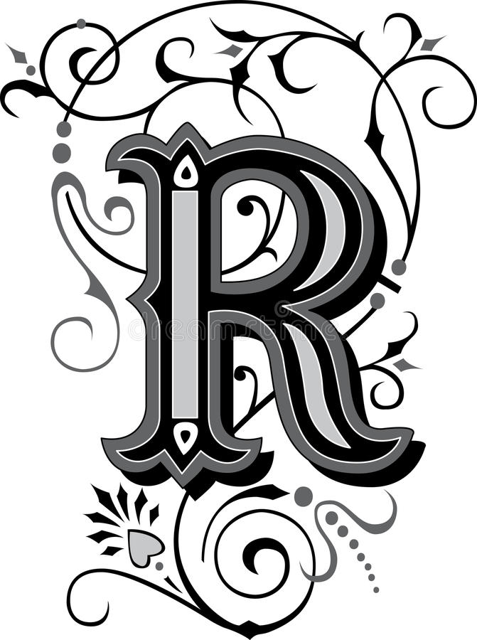 Download Beautiful Ornament Letter R Stock Vector