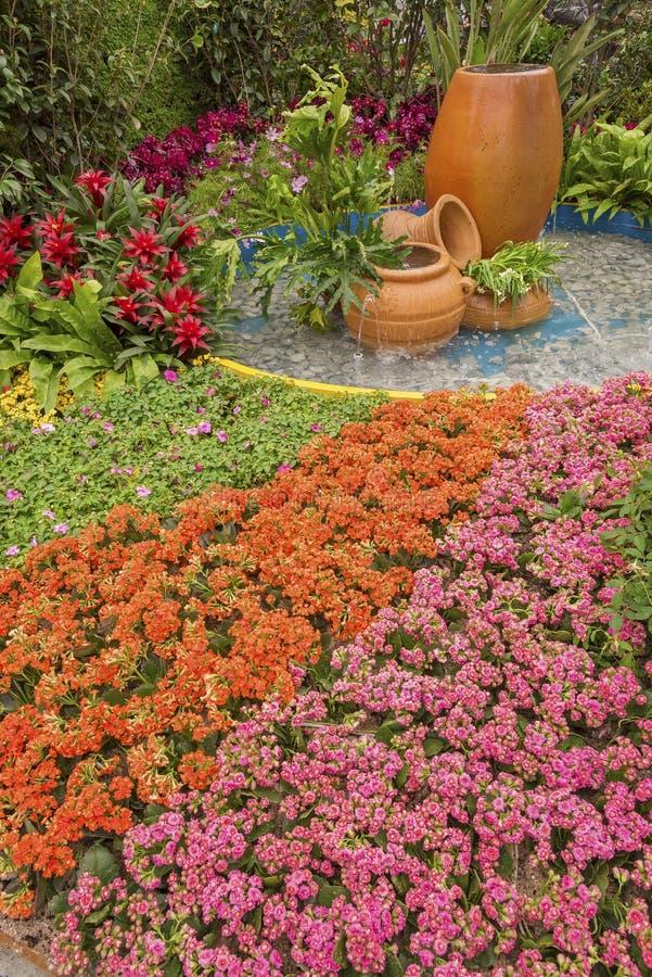 Backyard flower garden. Natural background stock photo