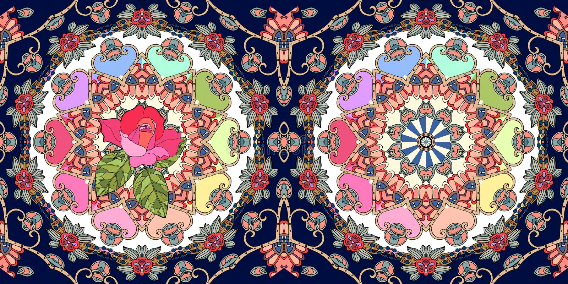 Beautiful ornamental border with cute pink rose and mandala on ornamental dark blue background. Seamless vector pattern. Carpet fragment royalty free illustration