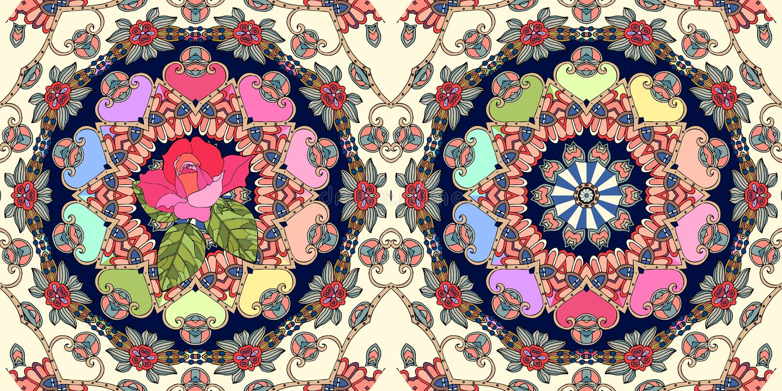 Beautiful ornamental border with cute pink rose and mandala. On ornamental light yellow background, Seamless vector pattern. Carpet fragment vector illustration