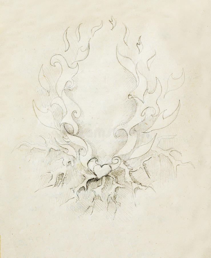 Free Beautiful Ornamental Pencil Drawing On Old Paper. Heart And Fire With Flash. Royalty Free Stock Photography - 82977447