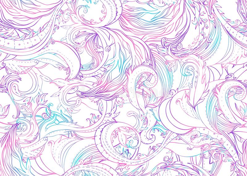 Beautiful ornate flower seamless pattern. Outline drawing, spring summer floral fashion print. Intricate leafy background. Decorative style retro ornate design stock images