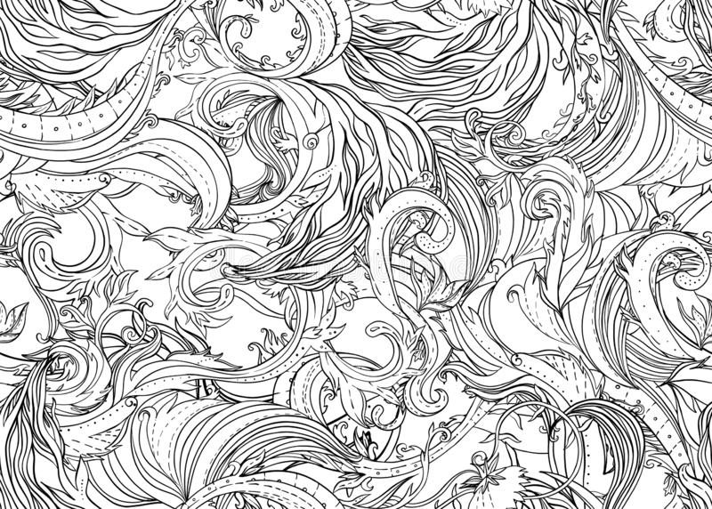 Beautiful ornate flower seamless pattern. Outline drawing, spring summer floral fashion print. Intricate leafy background. royalty free stock image