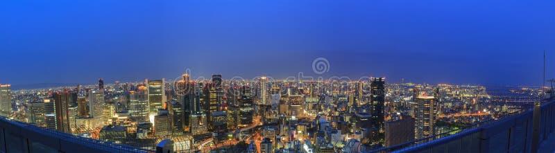The beautiful Osaka night downtown cityscape. From Umeda Sky Building, Osaka, Japan stock photography