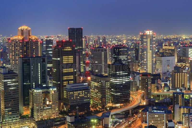 The beautiful Osaka night downtown cityscape. From Umeda Sky Building, Osaka, Japan royalty free stock photos