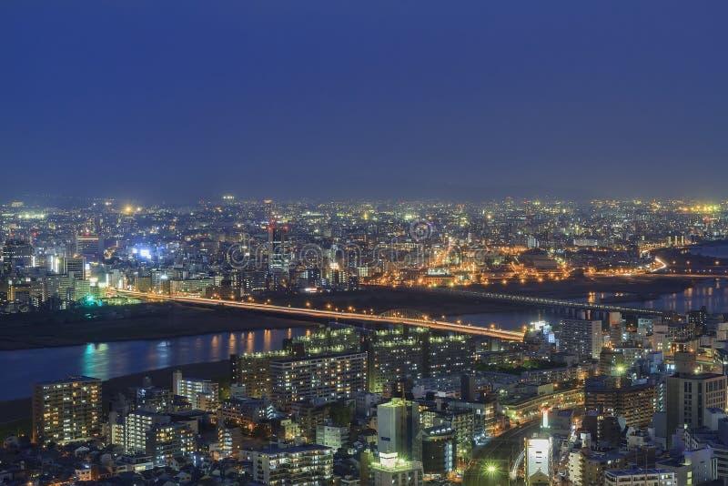 The beautiful Osaka night downtown cityscape. From Umeda Sky Building, Osaka, Japan royalty free stock photography