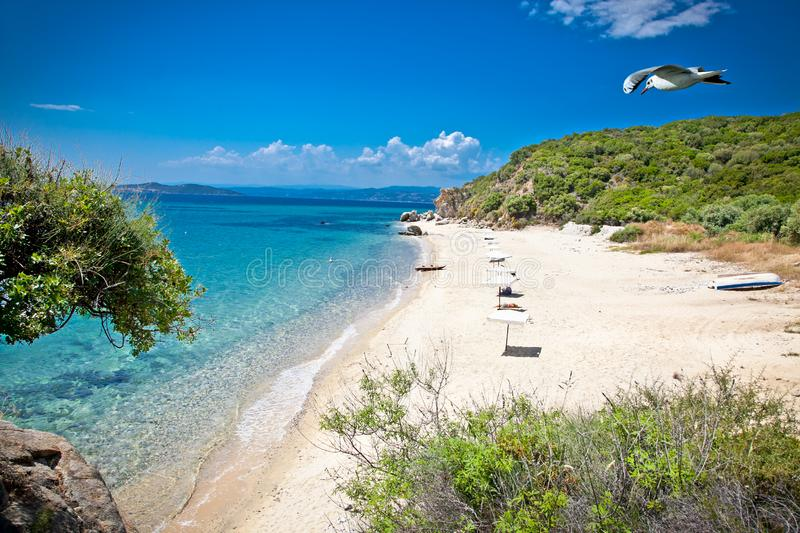 Beautiful Ouranoupolis beach on Athos, Greece. Beautiful Ouranoupolis sandy beach on Athos peninsula, Greece royalty free stock photography