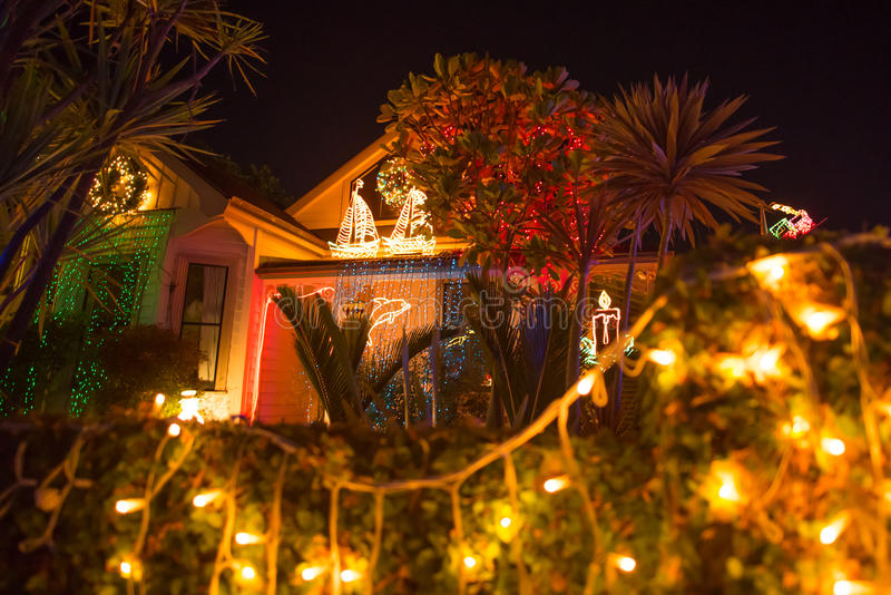 Beautiful outdoor Christmas lights display house decocation. AUCKLAND, NEW ZEALAND - DECEMBER 22, 2016: Beautiful outdoor Christmas lights every year decorating royalty free stock images