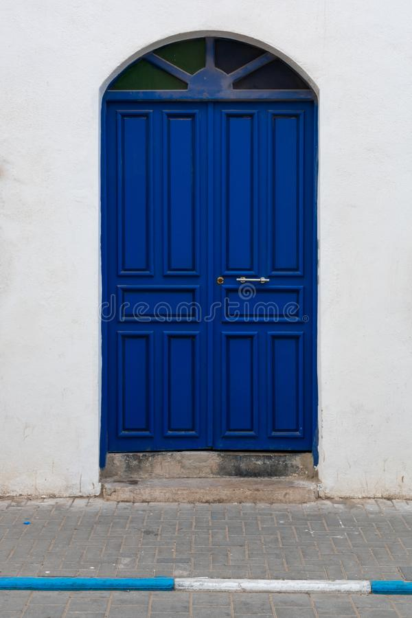 Double Blue Doorway Entrance in Essaouira Morocco stock image