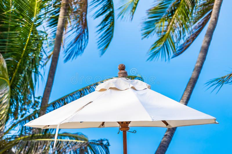 Beautiful outdoor nature with umbrella chair and coconut palm tree around swimming pool in hotel and resort. For holiday vacation concept stock image