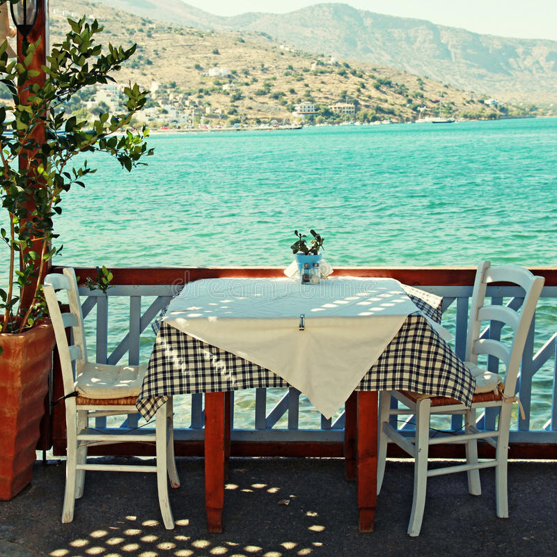 Beautiful outdoor restaurant (Crete, Greece) royalty free stock photo