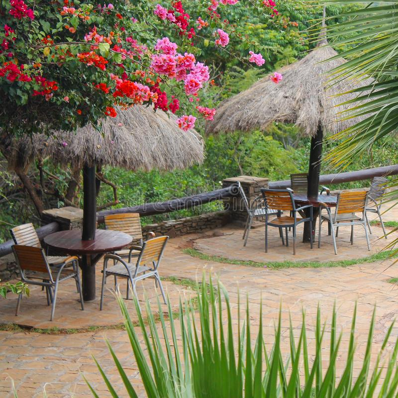Beautiful outdoor sitting eating area royalty free stock photography