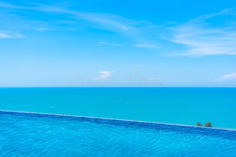 Beautiful outdoor swimming pool in hotel and resort. For leisure travel and vacation royalty free stock photos