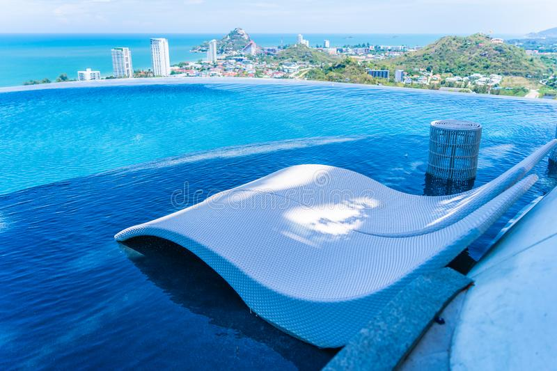 Beautiful outdoor swimming pool in hotel and resort. For leisure travel and vacation stock image