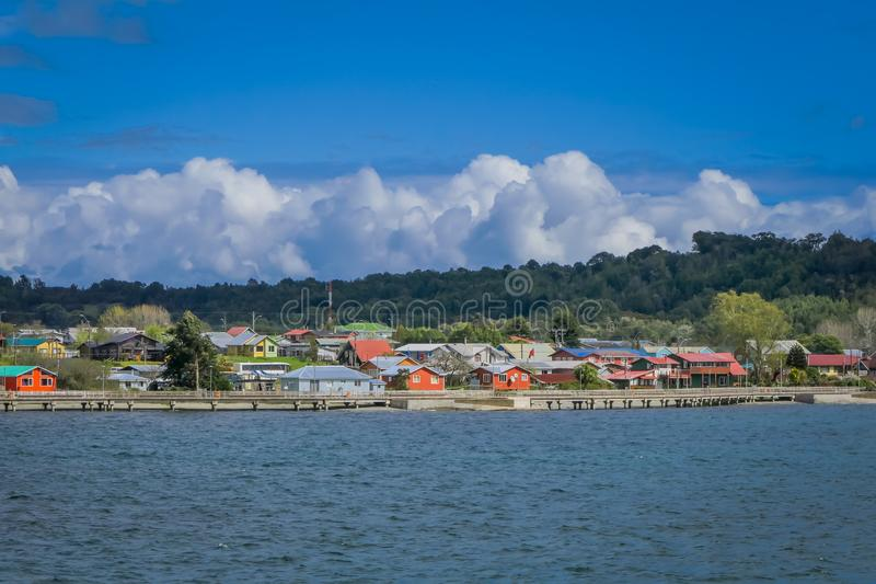 Beautiful outdoor view of buildings in the horizont of Chacao in Chilean mainland. In a gorgeous sunny day royalty free stock image