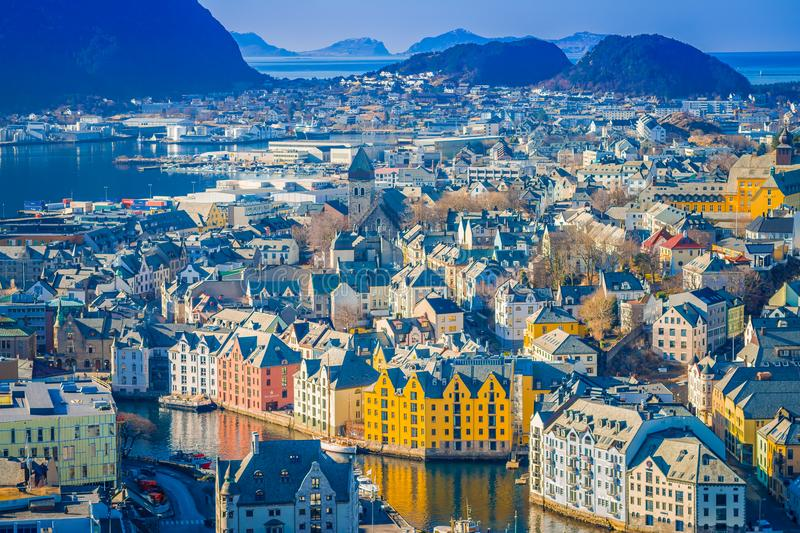 Beautiful outdoor view of colorful buildings from the mountain Aksla at the city of Alesund, Norway.  royalty free stock images