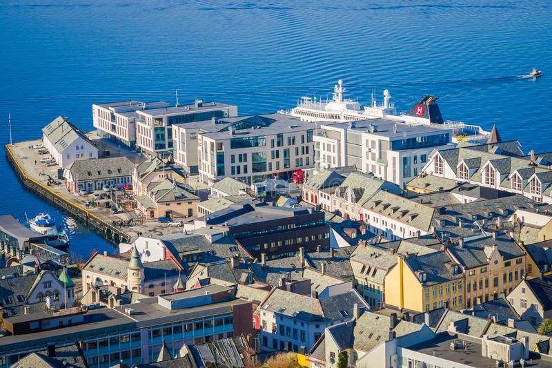 Beautiful outdoor view of colorful buildings from the mountain Aksla at the city of Alesund, Norway.  stock image